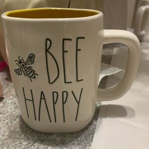 Rae Dunn Bee Happy mug yellow inside